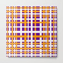 Purple & Orange Interlocking Stripes Metal Print