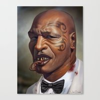 "mike tyson Canvas Prints featuring Mike Tyson ""Punched OUT"" by Joel Stieber"