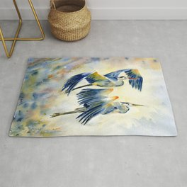 Flying Together - Great Blue Heron Rug