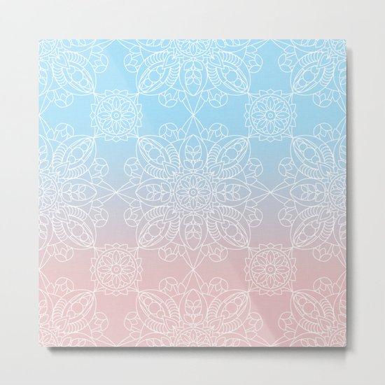 Pastel Dreams Mandala on Blue and Pink Linen Metal Print
