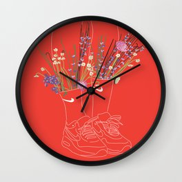 flowers sneakers v2 Wall Clock