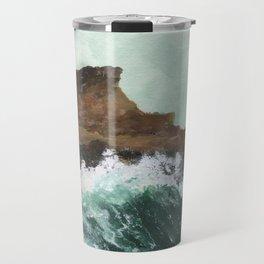 Crashing Waves on a cliff Travel Mug