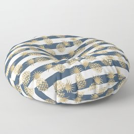 Modern nautical navy blue stripes faux gold pineapple Floor Pillow