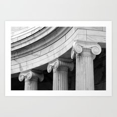 Classical marble columns in black and white Art Print