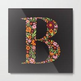 Retro Floral Letter B Metal Print