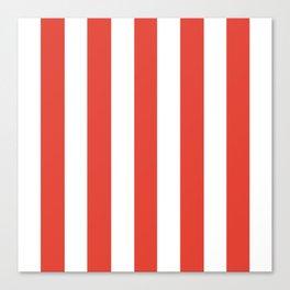 Vermilion orange - solid color - white vertical lines pattern Canvas Print