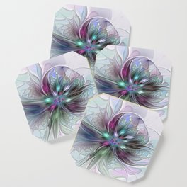 Colorful Fantasy Abstract Modern Fractal Flower Coaster