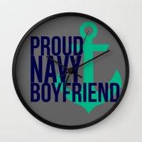 boyfriend Wall Clocks featuring Proud Navy Boyfriend by The Other McClane