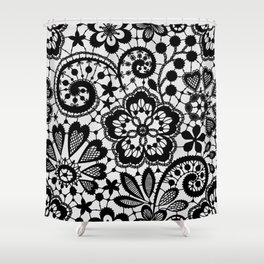 Black Lace. Pattern. Shower Curtain