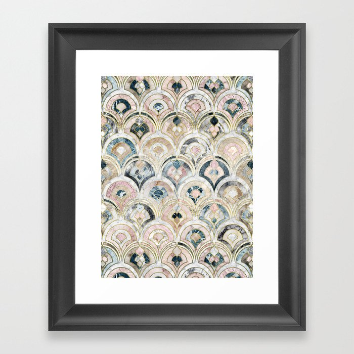 Art Deco Marble Tiles in Soft Pastels Gerahmter Kunstdruck