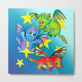 Baby dragons flying among the stars Metal Print