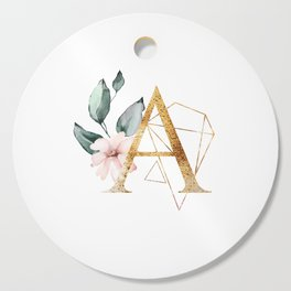 Geometric Floral Gold Letter A Cutting Board