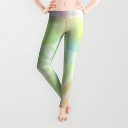 soft Neon Watercolor Pattern with Tropical Leaves Shapes Leggings