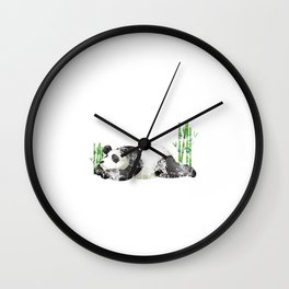 Funny Nope Not Today Lazy Sleepy Panda Distressed Wall Clock