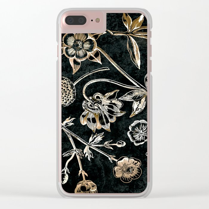 Golden set of birds, beetle, flowers and cherry fruit. Clear iPhone Case