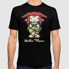 Hello Meow MEDIUM Mens Fitted Tee Black