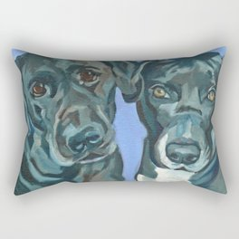 Emily and Annabel Dog Portrait Rectangular Pillow