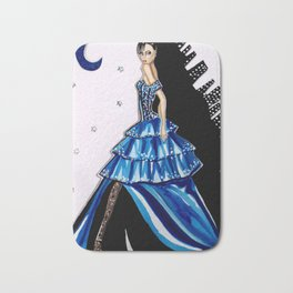 MIDNIGHT IN MANHATTAN FASHION ILLUSTRATION BY JAMES THOMAS RYAN Bath Mat