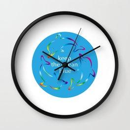 Keep the Ocean Blue_Rainbow Dolphins rotating Wall Clock
