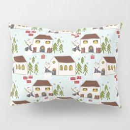 Festive Winter Snowman Village Seamless Christmas Xmas Pillow Sham
