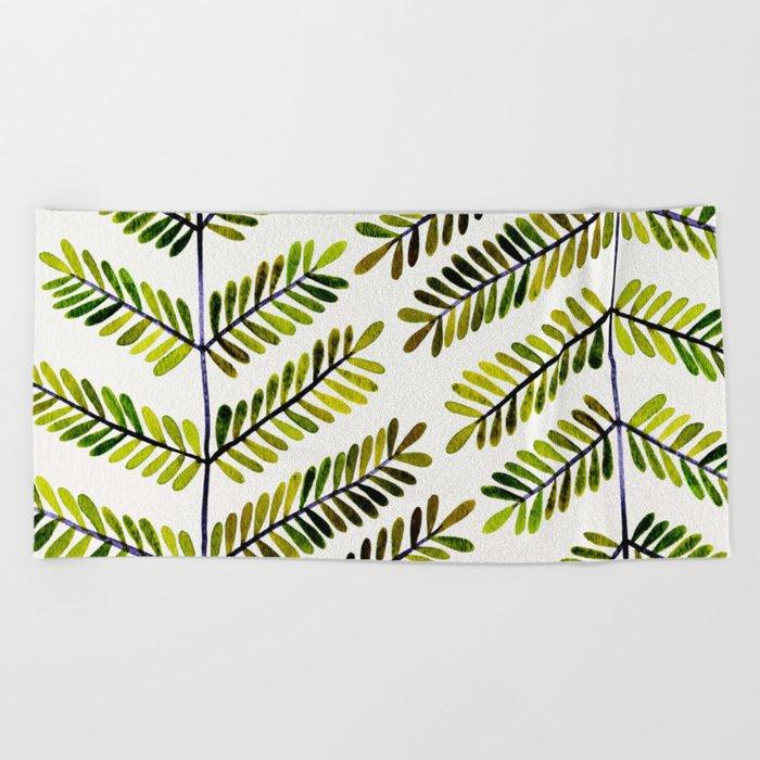 Green Leaflets Beach Towel