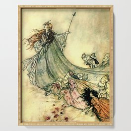 """Queen of the Fairies"" by Arthur Rackham Midsummer's Night Serving Tray"