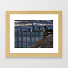 ny harbor collage digital negative Framed Art Print