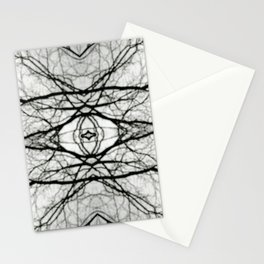 Abstract Bokeh Branches - Black & White Mood - Natural Neutral Stationery Cards