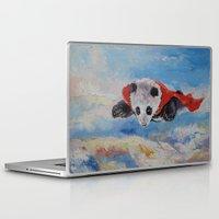 superhero Laptop & iPad Skins featuring Panda Superhero by Michael Creese