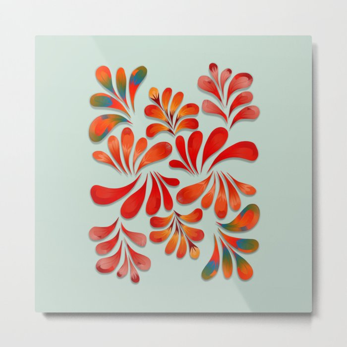 Floral Dance in Red Metal Print
