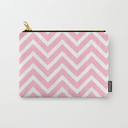 Chevron Stripes : Pink & White Carry-All Pouch