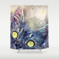 kitty Shower Curtains featuring Kitty by jbjart