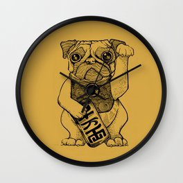 Lucky Pug [mustard] Wall Clock