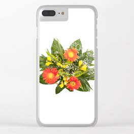 Arranged handheld wedding bouquet of freesia and gerbera Clear iPhone Case