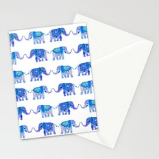HAPPY ELEPHANTS - WATERCOLOR BLUE PALETTE Stationery Cards