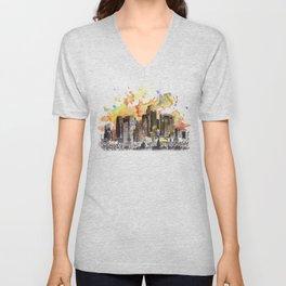 Los Angeles Cityscape Skyline Painting Unisex V-Neck