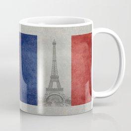 Flag of France with Eiffel Tower Vintage style Coffee Mug