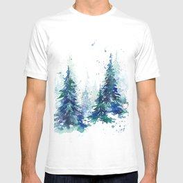 Watercolor winter fir forest T-shirt