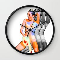 miley cyrus Wall Clocks featuring Miley Cyrus by Zharaoh