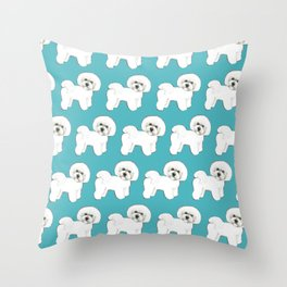 Bichon Frise Dog on blue Throw Pillow