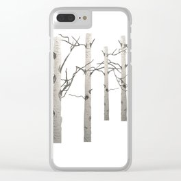 Birch Tree Forest White Bark Aspens Winter Clear iPhone Case