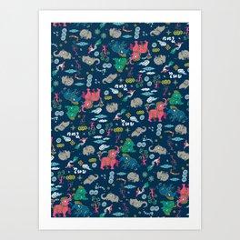 Thai Elephant pattern Art Print