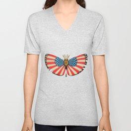 patriot moth (ORIGINAL SOLD). Unisex V-Neck