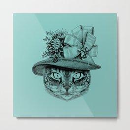 Mrs Robinson ‐ Charming Kitty Cat wearing a victorian English hat / Art Print Metal Print