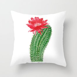 Сactus with red flower Throw Pillow
