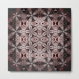 Red & Black Etched Delicate Flowers Metal Print
