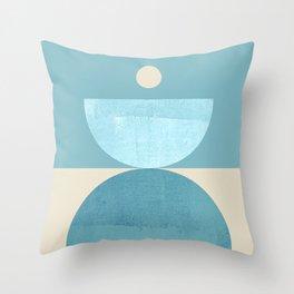 Abstraction_BLUE_SHAPE_BALANCE_POP_ART_Minimalism_333B Throw Pillow