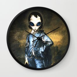Blue Alien Painting Wall Clock