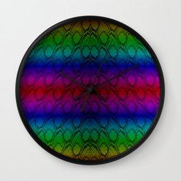 Bright Metallic Rainbow Python Snake Skin Wall Clock