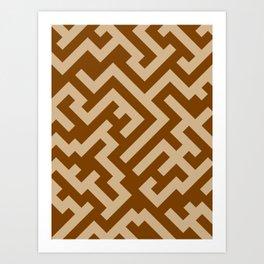 Tan Brown and Chocolate Brown Diagonal Labyrinth Art Print